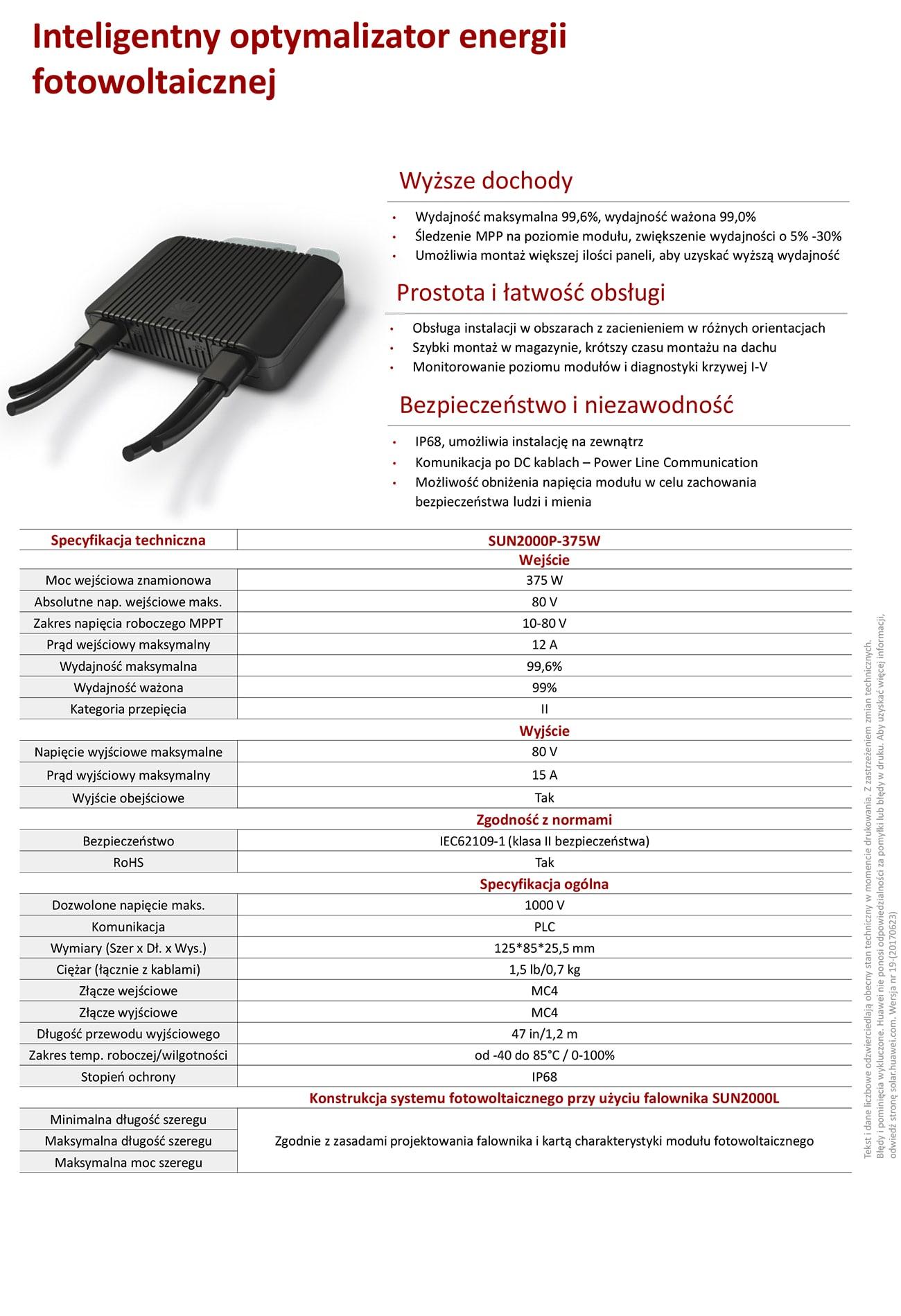 Falownik / Inwerter Huawei Sun 2000L-2KTL-L1 1-fazowy 2kW