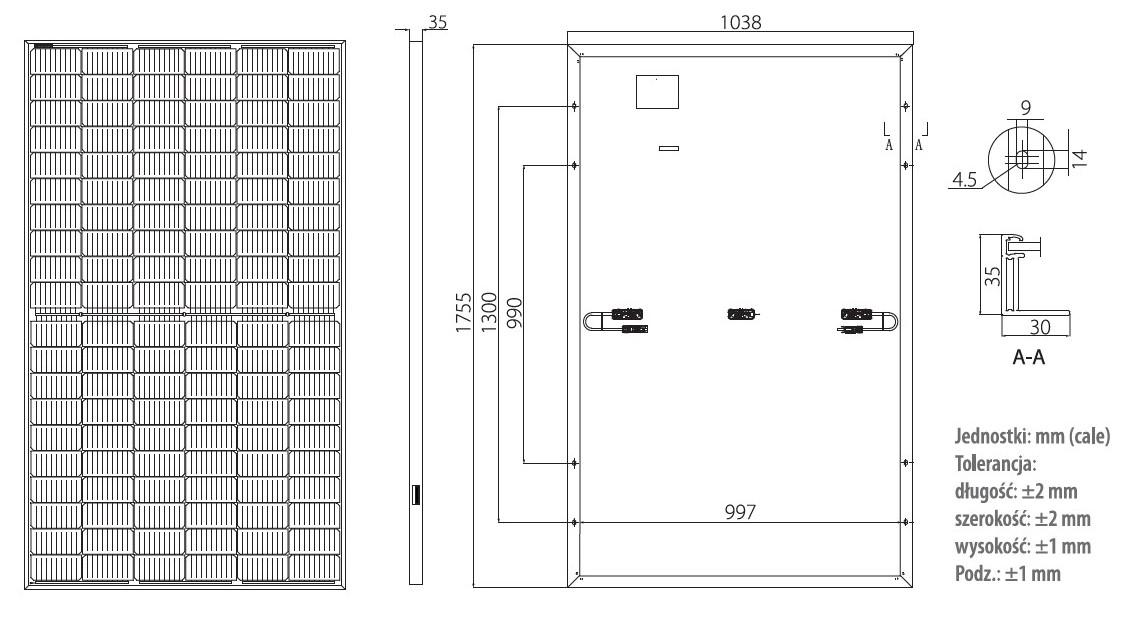 Wymiary panele słoneczne Longi LR4-60HPH 350-380W